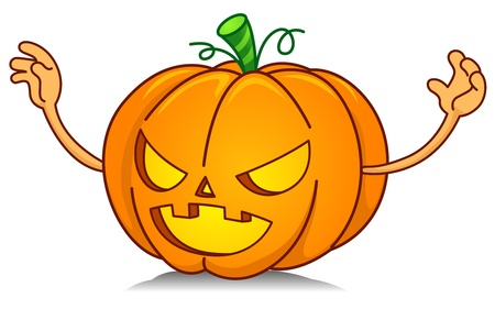 scare: Illustration of a Jack o Lantern Trying to Scare Someone or Something Away Stock Photo