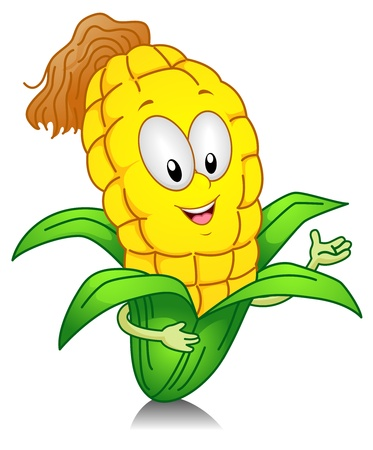 sweet corn: Illustration of a Sweet Corn Character Presenting Something