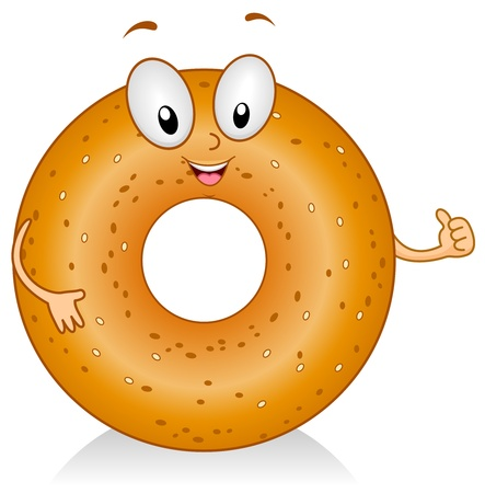 bagel: Illustration of a Bagel Character Giving a Thumbs Up Stock Photo