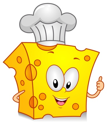 cartoon food: Illustration of a Cheese Character Wearing a Toque Giving a Thumbs Up