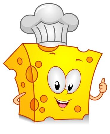 queso: Ilustraci�n de un car�cter de queso wearing un toque dando un pulgares arriba  Foto de archivo