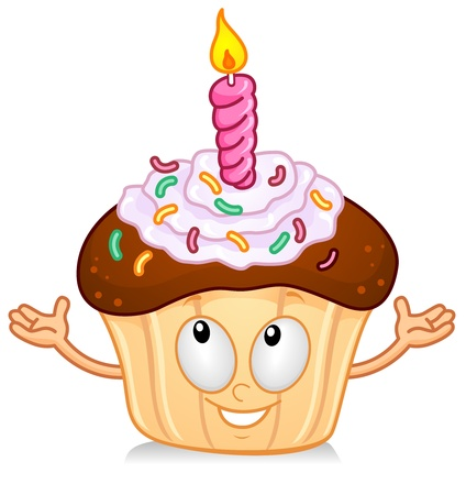 cupcakes isolated: Illustration of a Cupcake Character with a Candle on on Top Gesturing Something with his Hands