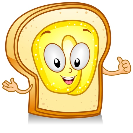 Illustration of a Bread Character Giving a Thumbs Up illustration