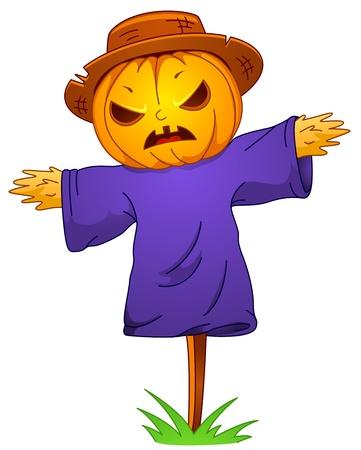 scarecrow: Ilustraci�n de un Espantap�jaros con un Jack o Lantern Head