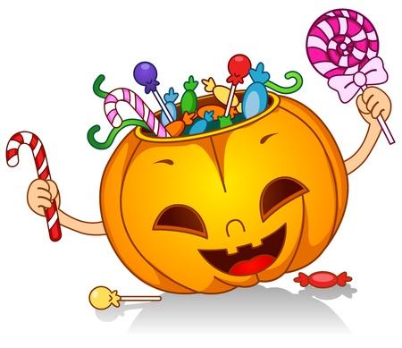 Illustration of a Pumpkin Character Carrying Lots of Treats illustration