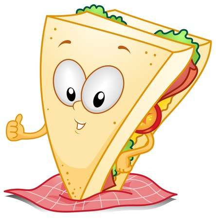 snacks: Illustration of a Sandwich Character Giving a Thumbs Up
