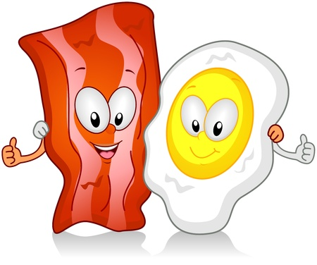 bacon and eggs: Illustration of Bacon and Egg Character