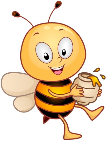 Illustration of a Honeybee Character Carrying a Jar of Honey illustration