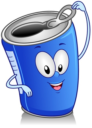 drinking soda: Illustration of Canned Drink Character