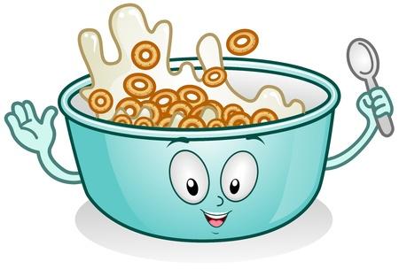 cereal: Ilustraci�n de un personaje de desayuno con leche y cereales
