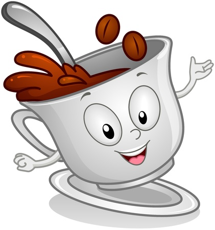 coffee cup isolated: Illustration of a Coffee Drink Character With Beans