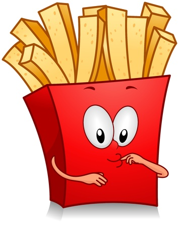 french food: Illustration of Fries Character