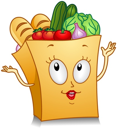 grocery: Illustration of a Grocery Bag Character Gesturing Something With its Hands Stock Photo