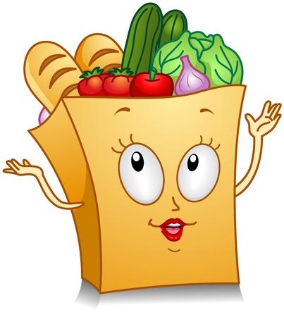 bolsa supermercado: Ilustraci�n de un supermercado bolsa de car�cter ensaya un juego brillantes algo con sus manos Foto de archivo