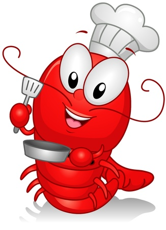 lobster isolated: Illustration of a Lobster Character Dressed as a Chef Stock Photo