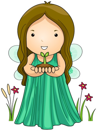 Illustration of an Earth Fairy Carrying a Seedling illustration