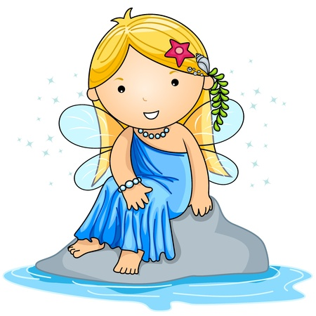 water nymph: Illustration of a Water Fairy Sitting Comfortably on a Rock Stock Photo
