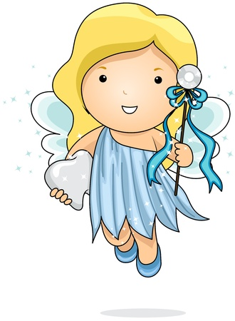 Illustration of a Tooth Fairy Carrying a Tooth illustration