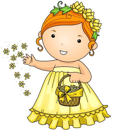 Illustration of a Little Flower Girl Scattering Flowers Around Her