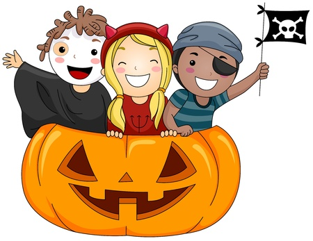 Illustration of Kids Dressed in Costumes Standing inside a Giant Jack o Lantern illustration
