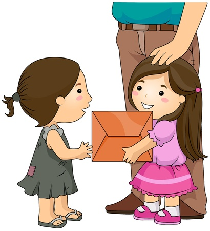 poor people: Illustration of a Neatly Dressed Girl Giving a Package to a Shabby Looking Girl