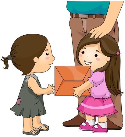 generosidad: Ilustraci�n de una chica prolijamente Dressed dando un paquete a una chica de mirada Shabby