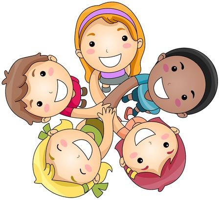 Ilustración de un grupo de pequeñas de unirse a manos de la infancia Foto de archivo