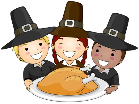 pilgrim costume: Illustration of a Small Group of Children Wearing Pilgrims Clothes Holding a Platter of Turkey