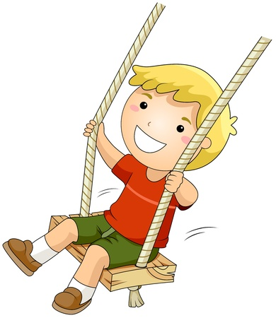 playgrounds: Illustration of a Kid on a Swing
