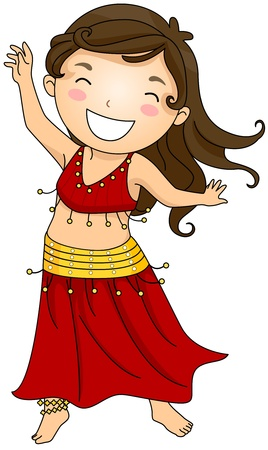 belly dancing: Illustration of a Girl Doing a Belly Dance Stock Photo