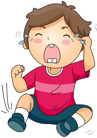 slips: Illustration of a Crying Kid sitting on the Ground Stock Photo
