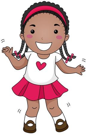 tanzen cartoon: Illustration eines tanzenden Kind