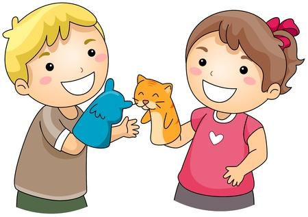 titeres: Ilustraci�n de ni�os jugando con Sock Puppets