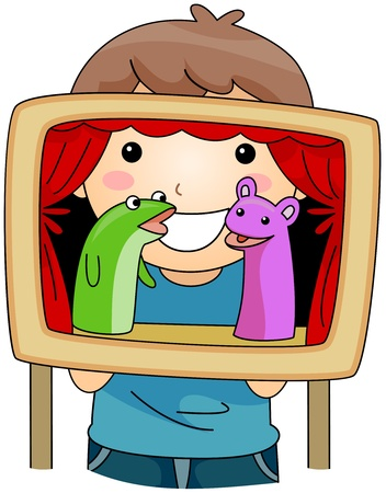 sock puppet: Illustration of a Kid Hosting a Puppet Show