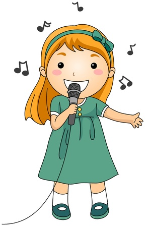 singer with microphone: Illustration of a Singing Girl