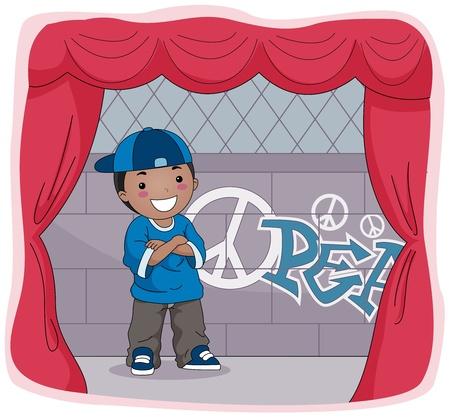 Illustration of a Kid Acting Onstage illustration