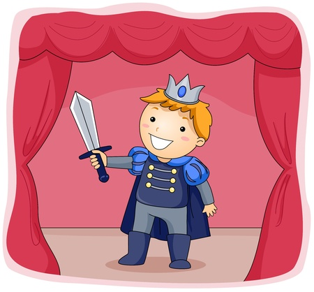 children acting: Illustration of a Kid Dressed as a Prince Acting in a Stage Play Stock Photo