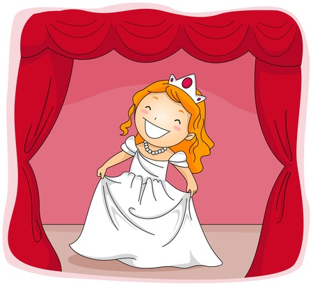 Illustration of a Kid Dressed in a Princess Costume Acting in a Stage Play illustration