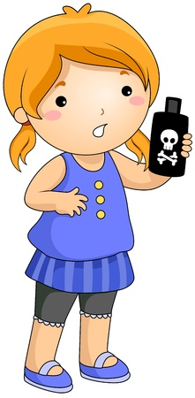 is poisonous: Illustration of a Girl Holding a Bottle Containing Poisonous Liquid