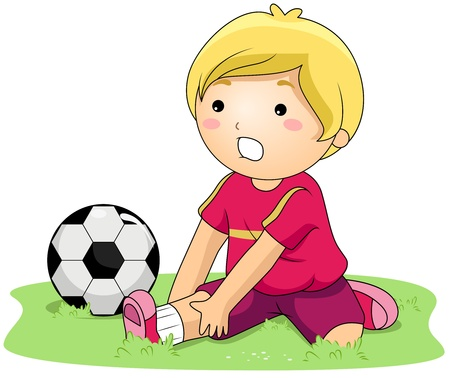 Illustration of a Kid With a Sprained Ankle illustration
