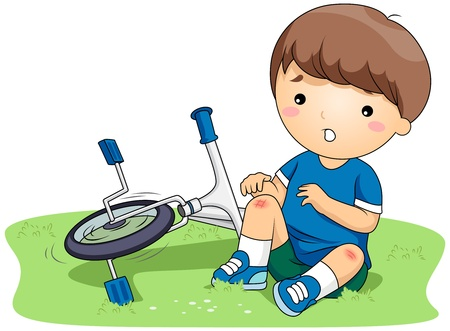cartoon accident: Illustration of a Boy Who Bruised His Knees After He Got into an Accident