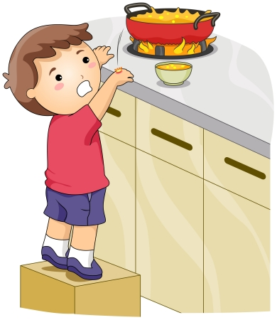cartoon accident: Illustration of a Kid Whose Hands Got Accidentally Burned