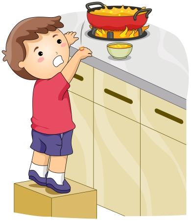 quemadura: Ilustraci�n de un ni�o en cuyas manos se quemaron accidentalmente