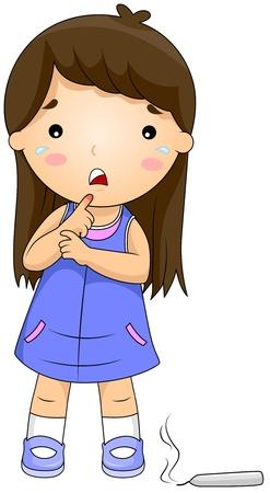 arder: Ilustraci�n de una chica que obtuvo su dedo quemado por una vela