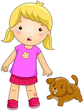 rabies: Illustration of a Girl Bitten by a Dog Stock Photo