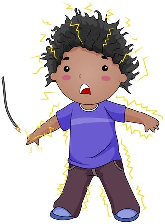 descarga electrica: Ilustraci�n de un Electrocuted Kid Foto de archivo