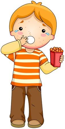 Ilustración de un niño tener una reacción alérgica a los alimentos