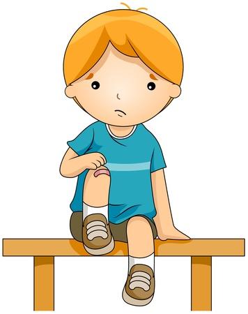 herida: Ilustraci�n de un ni�o con una rodilla vendada