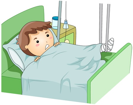 hospitalized: Illustration of a Kid Wearing a Leg Cast