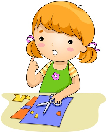child safety: Illustration of a Girl Who Cut Her Finger with a Pair of Scissors Stock Photo